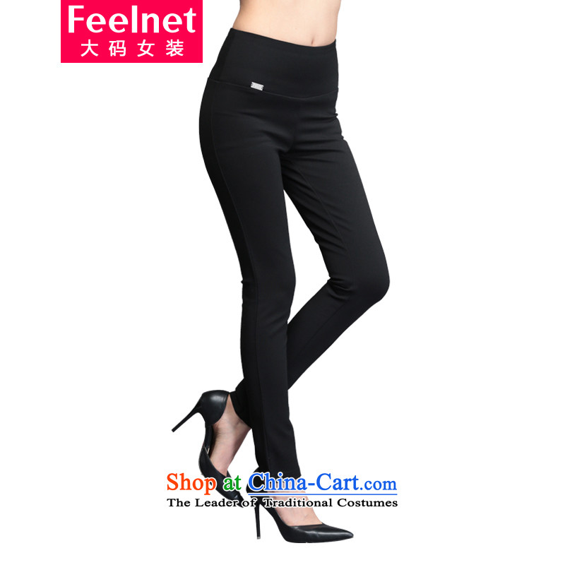 The Korean version of the fertilizers feelnet xl female thick mm thick autumn and winter casual pants female castor video thin Waist Trousers large forming the High 1766 4XL black trousers code