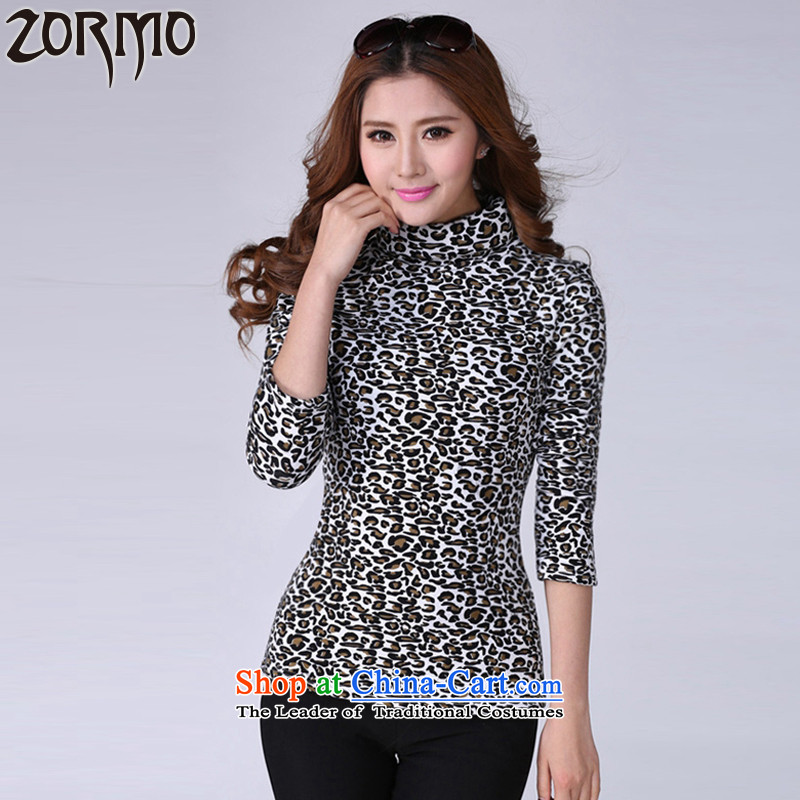 The officials of the fuseau larger women 2015 autumn and winter plus lint-free high-collar, forming the thick clothes thick mm leopard large thermal underwear White Leopard M
