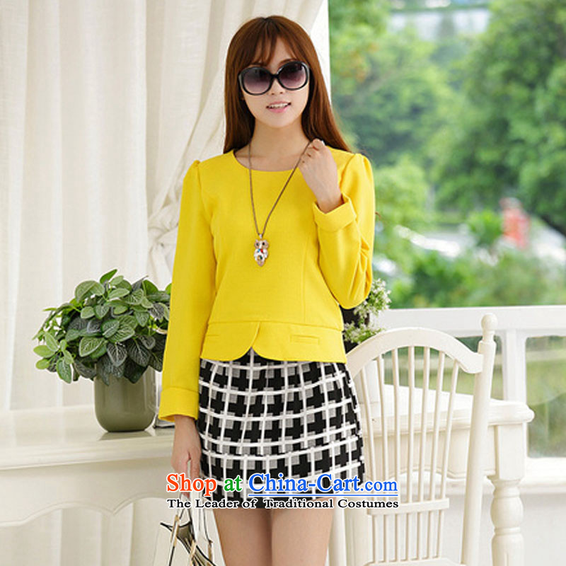 Gigi Lai Young Ah thick mm autumn and winter larger T-shirt short skirt kit to increase female 2015 thick sister new graphics thin coat body skirt two yellow聽XXXXL Kit