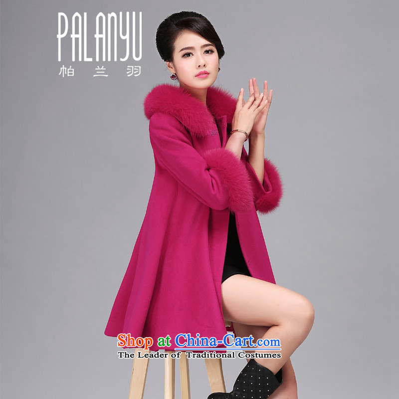 Palun Yu 2015 new high-end gross overcoats female winter? boxed long really fox gross collar cashmere overcoat cloak-loose large燬038 woolen coat of red燲L