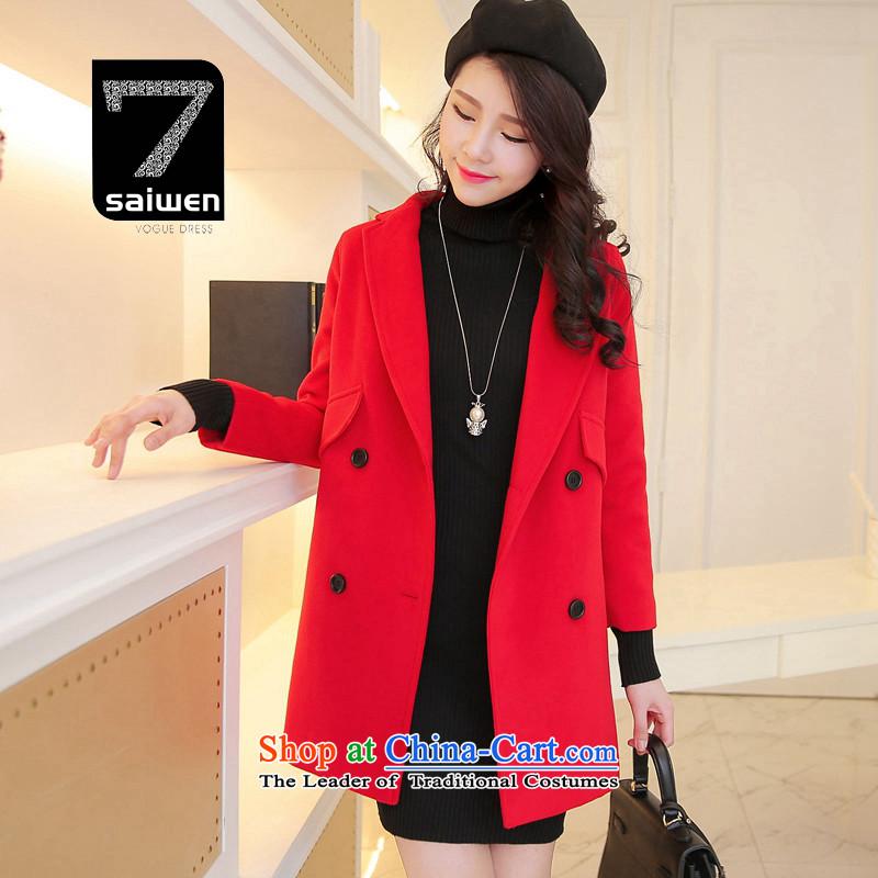 The2015 season Tsat autumn and winter new Korean version of the Long Hair Girl Red Jacket coat?L