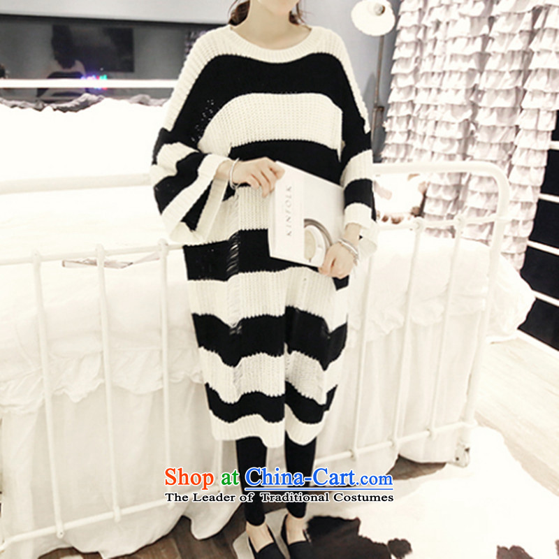 Replace the Spring and Autumn period the new 2015 Korea to increase women's code thick sister loose thick, Hin thin, Korea version long thick MM han bum stripes jacket and black sweater are code