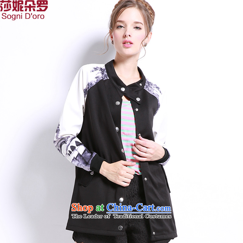 Shani flower lo xl female jackets thick mm autumn 2015, replacing the new minimalist thick sister video thin long sleeve jacket coat 3212 Black�L