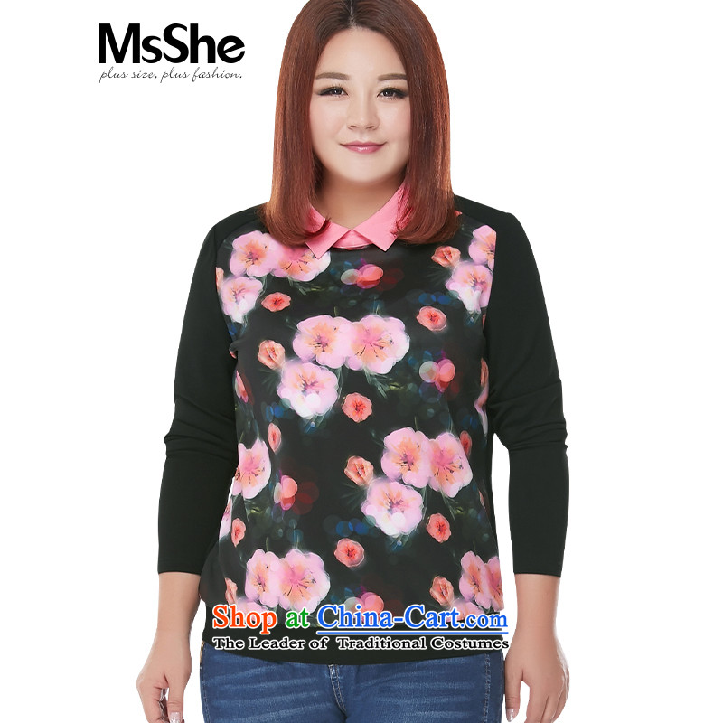Msshe xl women 2015 new fall inside the lapel stamp stitching thick MM shirt shirt 10160 Black�L