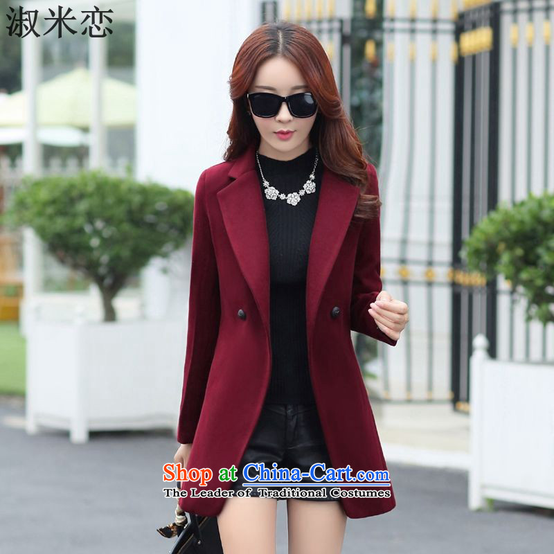 Mrs M land 2015 Fall_Winter Collections new stylish and simple and classy jacket coat female wine so gross red L