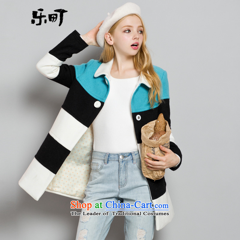 Lok-machi 2015 Autumn In New jacket, long hair? coats tri-color coats party for stitching a black-and-white of the female燤_160 Jacket