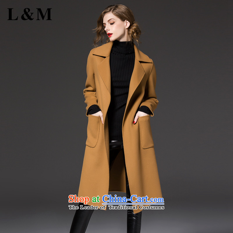 The European winter site L&m new simple and stylish. Made from long wool coat wind jacket? female winter thick with waistband F3009 and Color M