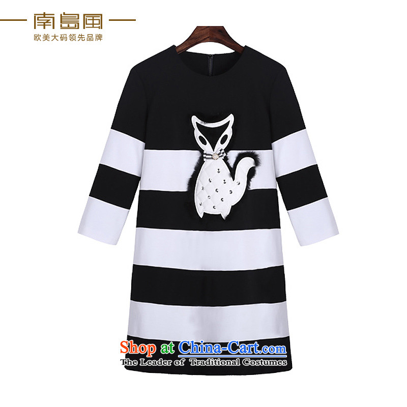 The South Island of New Europe and the 2015 wind larger female thick mm thin black and white animals fall graphics patterns dresses black large code 2XL