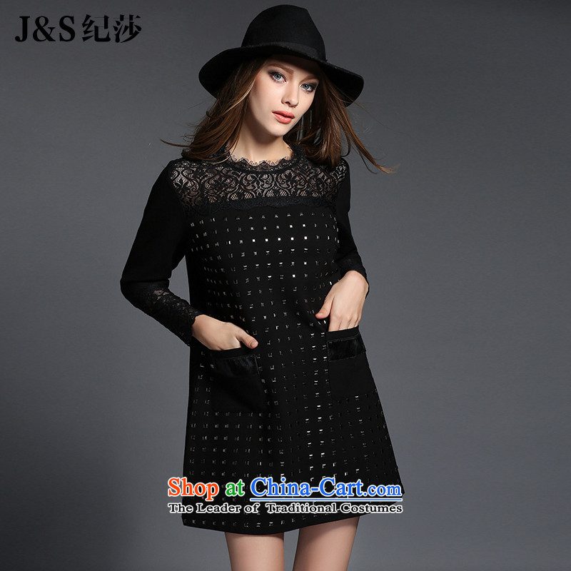 Elizabeth�15 ultra thick discipline sister autumn catty to 200XL women's dresses thick mm long-sleeved stylish lace engraving燴R2003牋3XL black