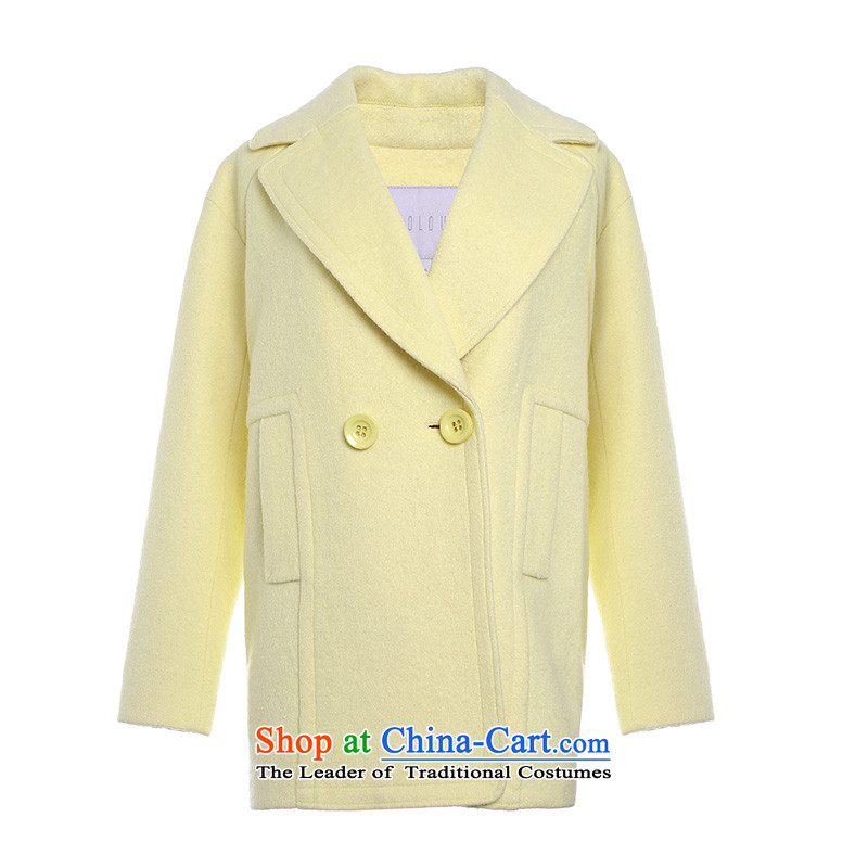 Designed for the 2015 winter clothing new western cocoon-Solid Color to grow up? gross D541012D10 Yi Girls�5_80A_S yellow