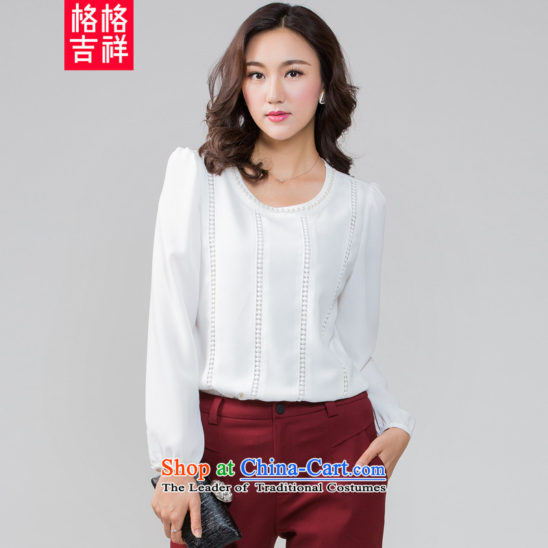 The interpolator auspicious2015 to increase the number of women in the autumn of new expertise mm loose video thin round-neck collar long-sleeved shirt, forming the chiffon shirt K5591 T-shirt3XL White
