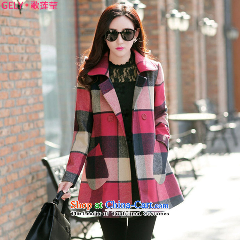 Song Lin Ying 2015 autumn and winter new Korean version of large segments of code women in gross? jacket long a wool coat G0583 LATTICES  L