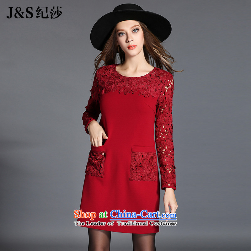 Elizabeth autumn 2015 installed with the new Europe and the Code women's expertise king sister video thin lace forming the thick mm dresses embroidery engraving plug-bag ZR2117- 3XL deep red