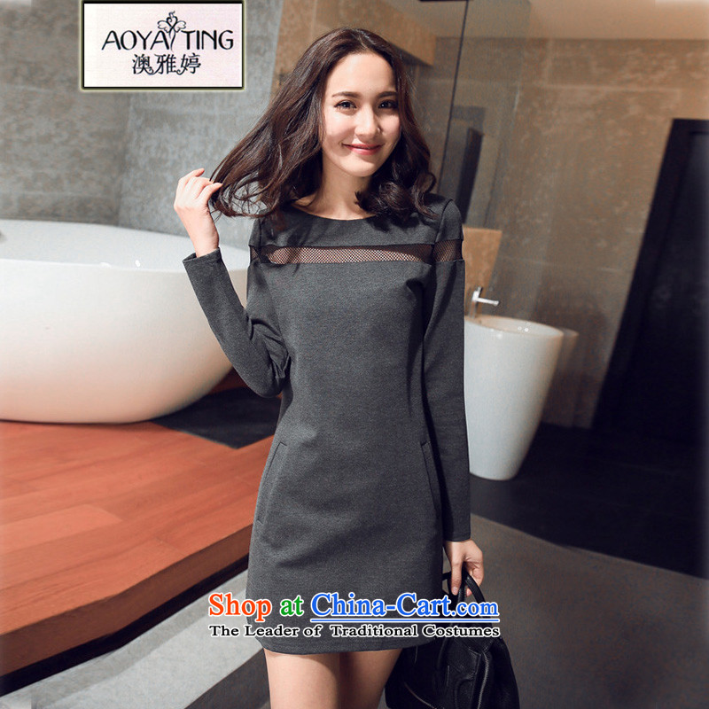 O Ya-ting�15 Autumn Korean to increase women's loose video decode thin dresses in mm thick solid long sleeved clothes long-sleeved T-shirt women 8218 Gray�L爎ecommends that you 160-180 catty