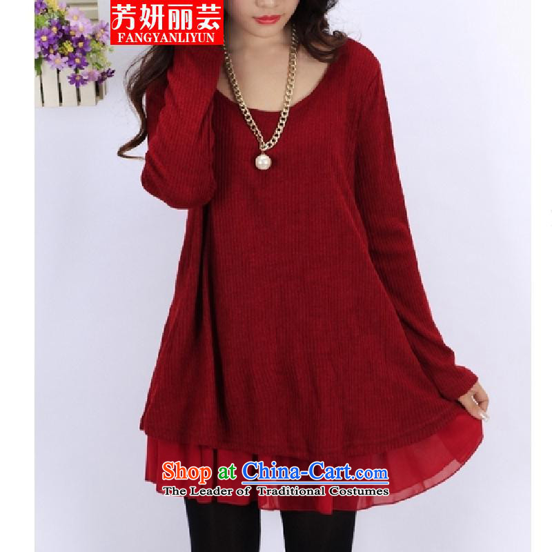 Charlene Choi Fong Lai-wan fall 2015 replacing larger female thick mm Korean loose video to increase long-sleeved thin dresses XXXXL(180-200) wine red
