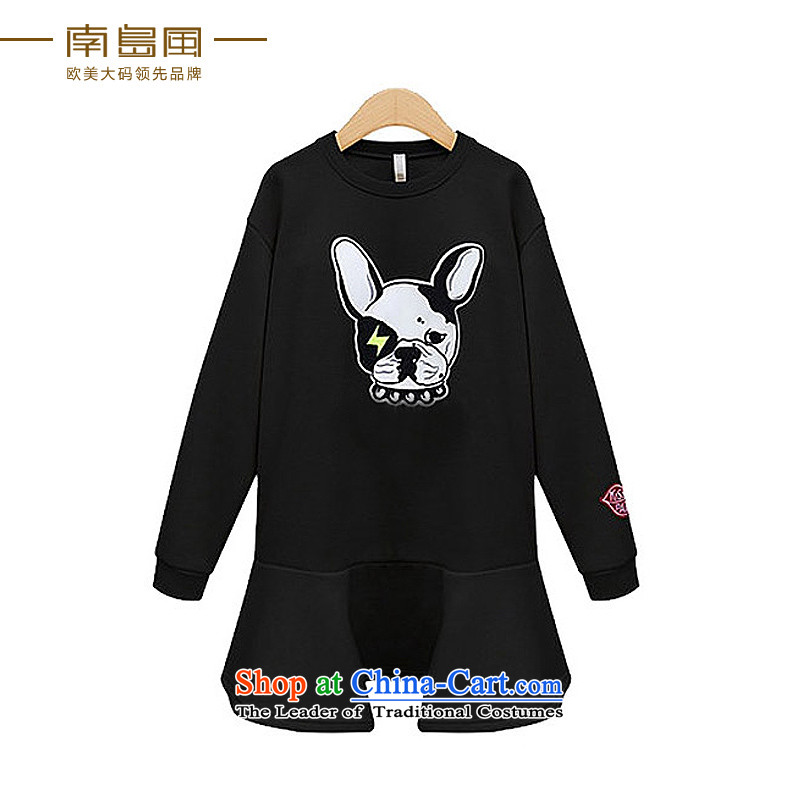 The South Island of New Europe and the 2015 wind larger female thick mm autumn graphics thin stylish cartoon leisure dresses female black large 5XL code