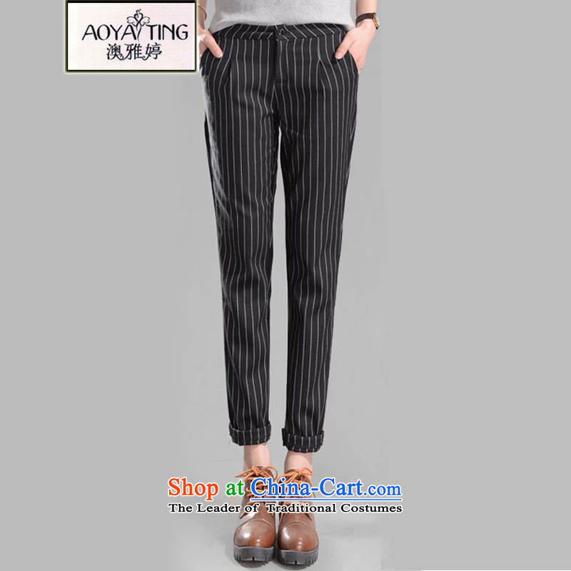 O Ya-ting Korean version of the new to increase women's code 2015 autumn and winter thick mm video thin vertical streaks leisure Castor Harun trousers England wind suit pants length pants black�L爎ecommends that you 160-180 catty
