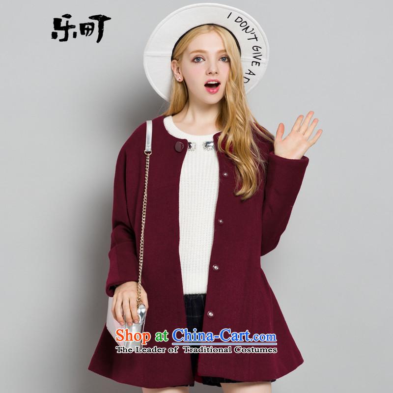 Lok-machi 2015 Autumn In New jacket, long hair? coats of nostalgia for the round-neck collar coats petticoats a wool coat femaleM_160 wine red