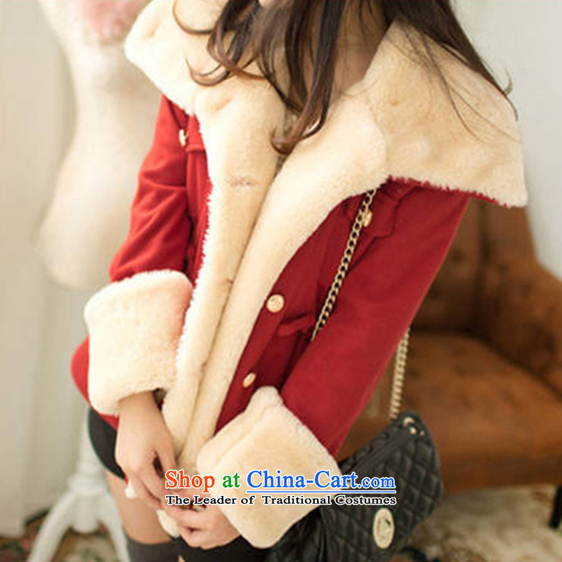 American economy by 2015 autumn and winter Claudia new larger female Korean fashion preppy thick hair a wool coat for double-jacket female Christmas gross? REDM