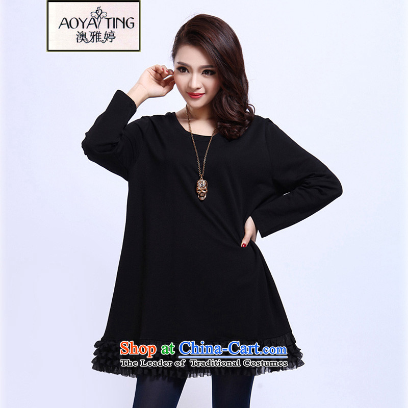 O Ya-ting Korean version of the new to increase women's code 2015 autumn and winter dresses thick mm thin indeed Borneo loose video forming the skirt 3012 Black�L�5-160 recommends that you Jin