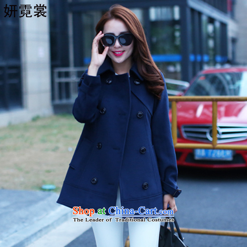 Charlene Choi Tysan�15 Korean version of large numbers of ladies autumn and winter new fat mm to cloak gross lapel jacket is warm, double-a wool coat Navy Blue�L