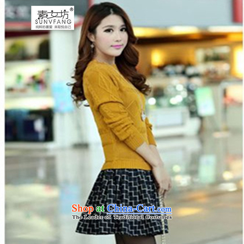 Motome workshop for larger female dresses�15 autumn and winter maximum code 200 catties thick MM leave two video thin wild sweater dresses 9168 Yellow燲L爎ecommended weight 100-135 catty