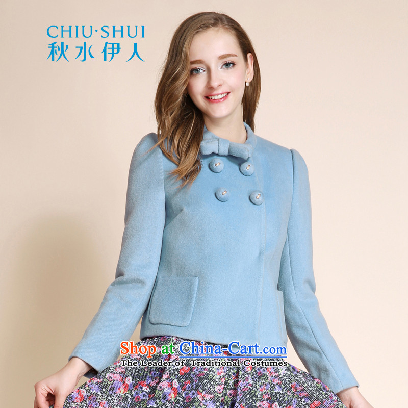 Chaplain who winter female Korean sweet loose twine bow knot wool coat light blue. Gross 165/88A/L.?