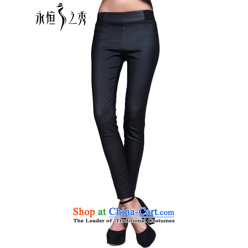 The Eternal Soo-xl, forming the Women 2015 Autumn load new pants and thick mm sister Han version thin trousers thick girls' graphics_ to autumn thin female black trousers 3XL