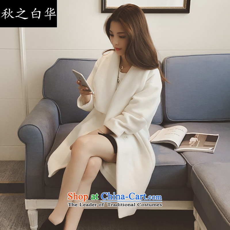 The fall of the Chinese version of the 2015 Korean white autumn and winter new thick hair girl suits for coats?? in gross jacket MN8501 long white S  for 90-110