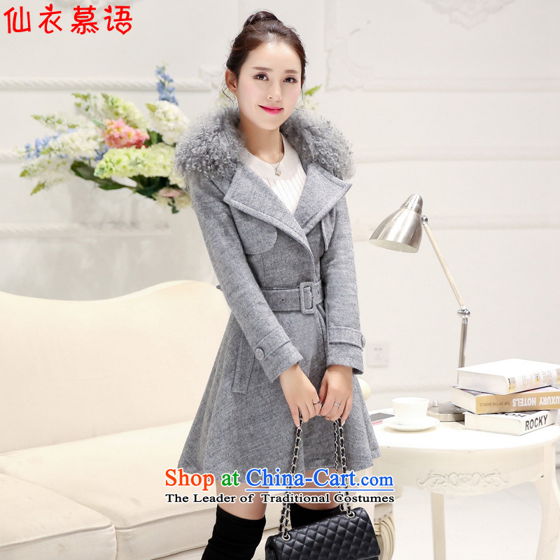 The About Sin Yi coats female 2015 Fall_Winter Collections new women's gross jacket Korean Beauty?? female gray overcoat gross L