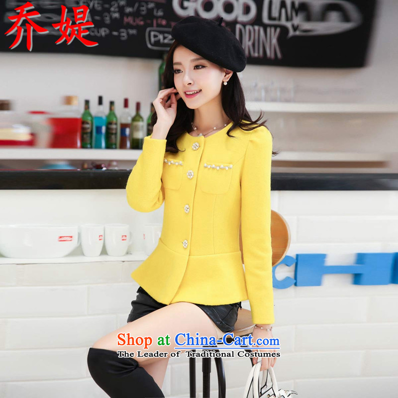 Joe customers fall 2015 new women's small elegant nail pearl wind-Sau San video thin hair? Single Row deduction coats of solid color, short cardigan round-neck jacket Yellow燤