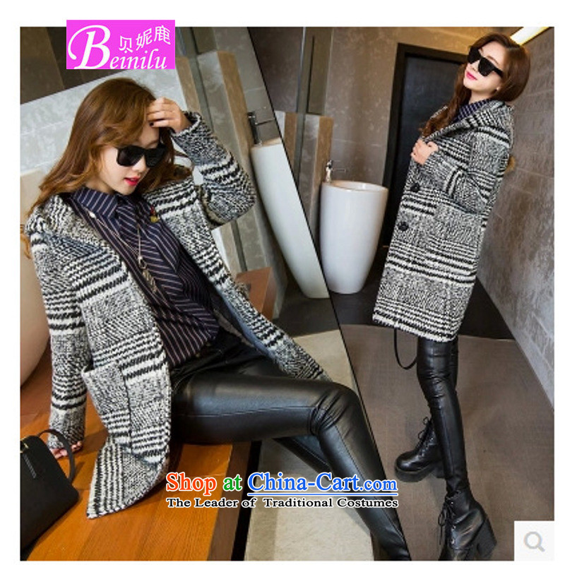 Connie Deer 2015 Autumn Addis Ababa with new cap chidori grid wool coat Connie sub-coats? The Girl in the autumn and winter long-jacket color pictures cocoon燤