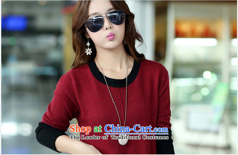 Gangnam-gu聽2015 Autumn replacing Europe taste for larger women to increase long-sleeved round-neck collar in MM thick long Sleek and versatile sweater wine red聽3XL recommendations 160-180 catty picture, prices, brand platters! The elections are supplied in the national character of distribution, so action, buy now enjoy more preferential! As soon as possible.