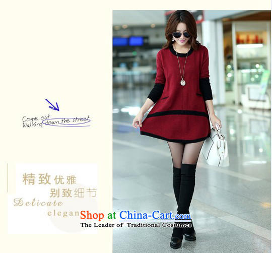 Gangnam-gu2015 Autumn replacing Europe taste for larger women to increase long-sleeved round-neck collar in MM thick long Sleek and versatile sweater wine red3XL recommendations 160-180 catty picture, prices, brand platters! The elections are supplied in the national character of distribution, so action, buy now enjoy more preferential! As soon as possible.