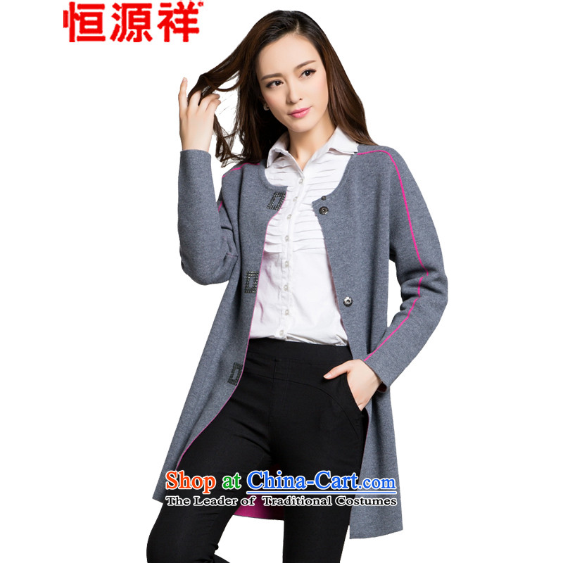 Hengyuan shiang chuan wool coat girl in long?_ Ms. thick autumn and winter Sau San new jacket, middle gray165