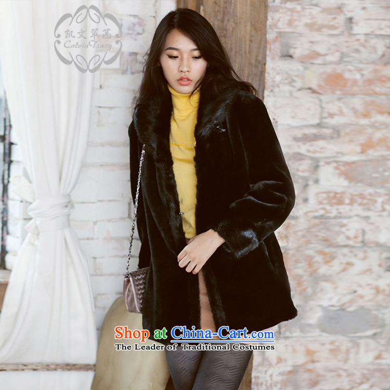 ? calvin tracy health Kevin Hong Kong Sin artificial fur on both sides of the Black mink wearing long_ Emulation fur coats black燣