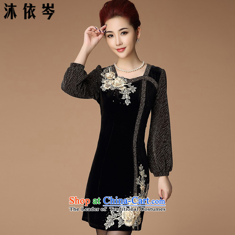 In accordance with the CEN 2015 Autumn bathing in the new larger female embroidery embroidery Sau San middle-aged moms high waist Kim commuting velvet dresses 885_ blackXXL