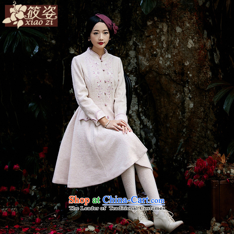 Gigi Lai Siu-Flower Heart-ae 2015 autumn and winter new staple pearl embroidery?     coats gross wild long-sleeved sweater rice flour color燣