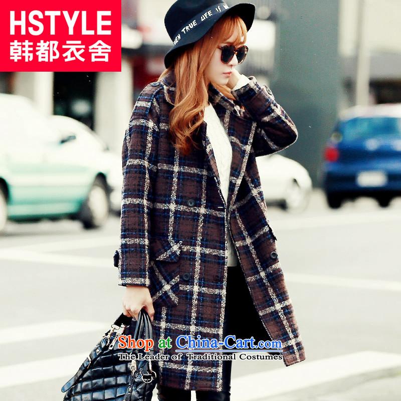 Korea has the Korean version of the Dag Hammarskj枚ld yi 2015 winter clothing new products with latticed double-jacket JQ4452?_2_ gross聽brown聽L