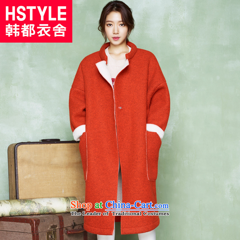 Korea has the Korean version of the Dag Hammarskj枚ld yi 2015 winter clothing new products with solid color in the collar long jacket DT5010 gross?2聽orange聽L