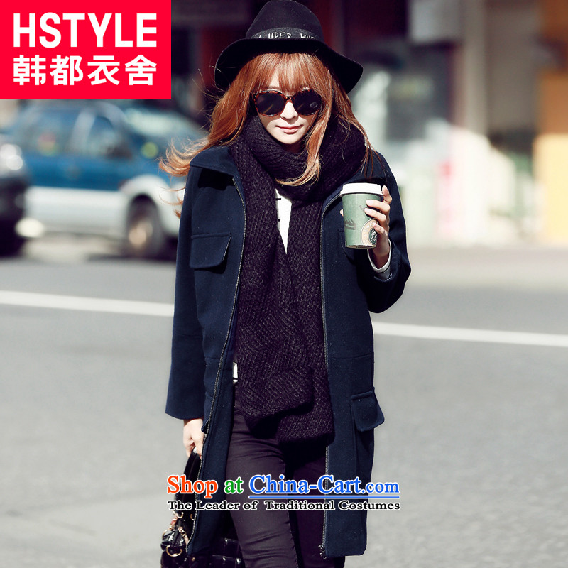 Korea has the Korean version of the Dag Hammarskjöld yi 2015 winter clothing new products with solid color in the lapel long hair?2 blue jacket DT4399 L