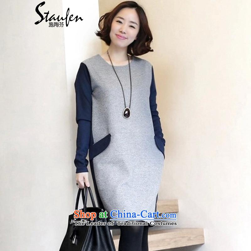 Stauffen 2015 long-sleeved dresses autumn and winter female new Korean Large Tri-color code knocked women's dresses 8808 Light Gray + navy blueXL