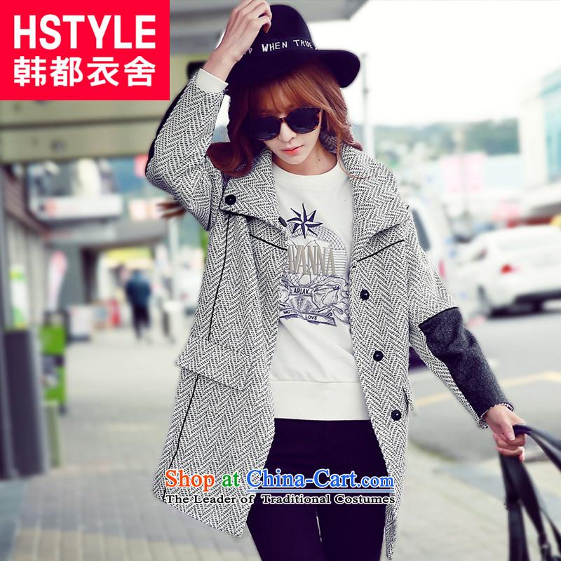 Korea has the Korean version of the Dag Hammarskj枚ld yi 2015 winter clothing new women's fashion, long straight hair?2聽gray jacket GQ4531聽S