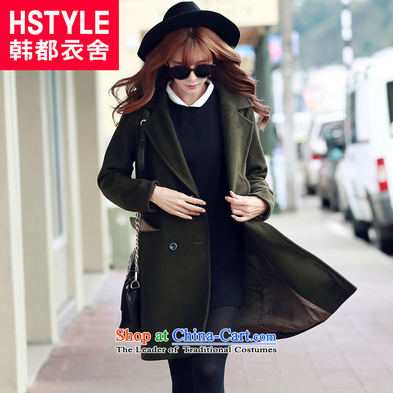 Korea has the Korean version of the Dag Hammarskjöld yi 2015 winter clothing new products with deep olive green youth long double-jacket GW5512 gross? deep human olive greenM