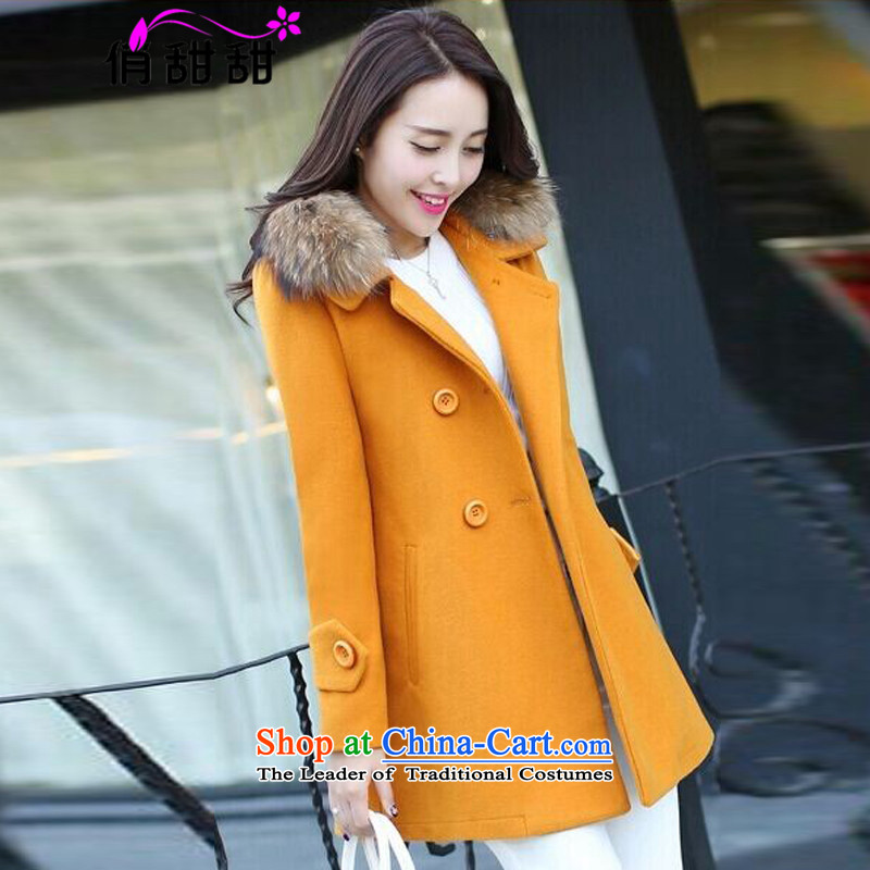 For the�15 autumn and winter and sweet new for women in the gross? jacket long large Sau San Nagymaros for a wool coat girl Huang燲XXL Ore