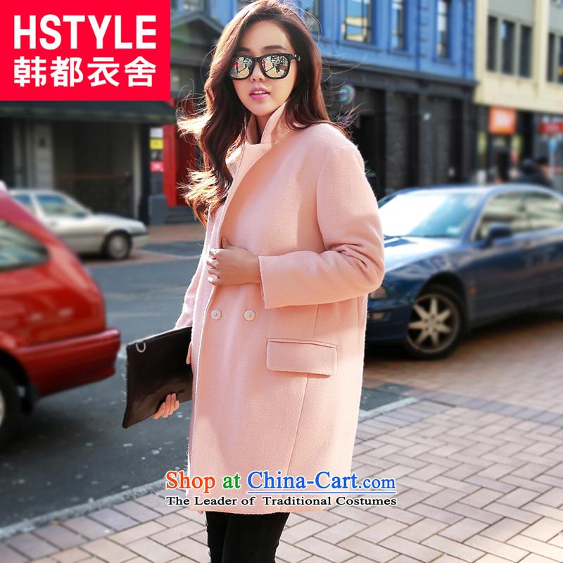Korea has the Korean version of the Dag Hammarskjöld yi 2015 winter clothing new women's loose solid color graphics thin coat CQ4806?(6) grossorange pinkS