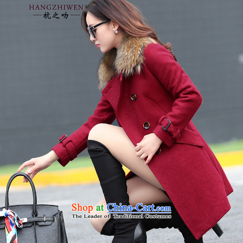 Spring 2015 winter coats kisses female new products in the long hair of the Jurchen people gross for jacket?   thick warm a wool coat female�0 wine red thick爓inter may pass through M