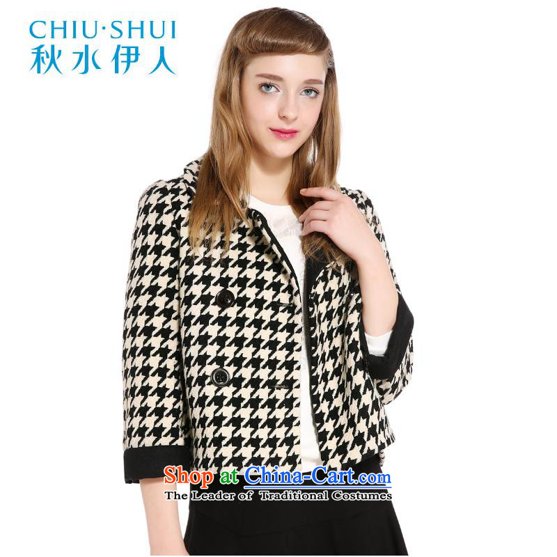 Chaplain who winter clothing new stylish classic chidori plaid gross coats wild short? jacket, black�5_80A_S