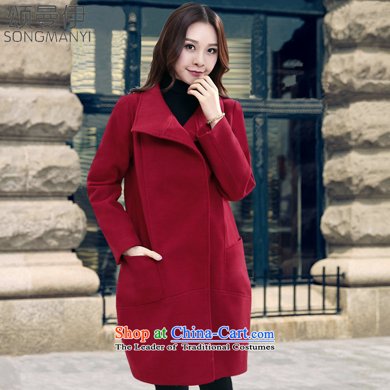 Chung Cayman 20155 EL autumn and winter new stylish long large relaxd dress a wool coat gross? jacket 5360 wine red M