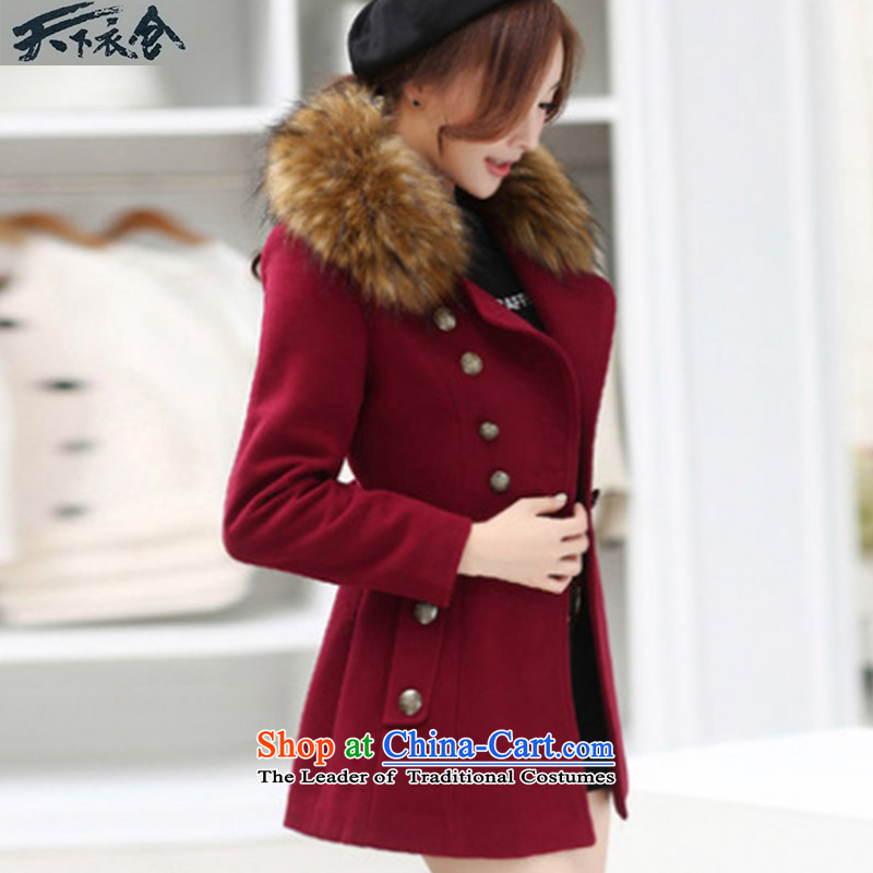 The World Yi compartment of autumn and winter 2015 new women's body Korean decorated in Wild long hair for gross? coats jacket wine red燲L